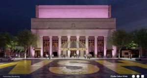 A rendering of the plaza planned for the front of Newark Symphony Hall on Broad St., released on May 5, 2021.