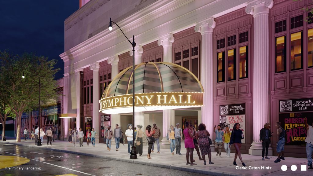 A rendering of the design for a new facade on Newark Symphony Hall, released on May 5, 2021. - CLARKE CATON HINTZ