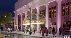 A rendering of the design for a new facade on Newark Symphony Hall, released on May 5, 2021.