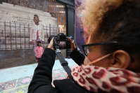 Scheherazade Tillet, co-collaborator on the Will You Be My Monument mural in Newark. ANTHONY ALVAREZ