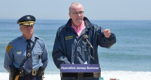 From right, Gov. Phil Murphy and N.J. State Police Superintendent Col. Patrick Callahan at a May 19, 2021 press appearance at Island Beach State Park.