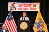 State Treasurer Elizabeth Maher Muoio delivers remarks at signing ceremony for the state's Fiscal Year 2022 budget in Woodbrige on June 29, 2021.