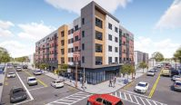 Rendering for the building at 722 Chancellor Ave., which will bring 56 units of affordable housing to Irvington. - OCA ARCHETECHETS