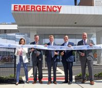 From left, Jane O'Rourke, chief nursing officer, Raritan Bay Medical Center Old Bridge; Todd Way, president, Central Market, Hackensack Meridian Health; Robert Garrett, chief executive officer, Hackensack Meridian Health; William DiStanislao, interim president, chief hospital executive, vice president, Operations, executive site director, Raritan Bay Medical Center Old Bridge; and Dr. Louis Brusco, chief medical officer, Raritan Bay Medical Center Old Bridge, cut the ribbon on the opening of 19 new total private Emergency Room beds on June 10, 2021. - HACKENSACK MERIDIAN HEALTH