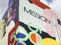 Mural Painter Inc. created the eye-catching exterior made up of Mission 50 in Hoboken's signature logo, as well as murals throughout the building's internal stairwells.- QUALLSBENSON