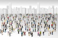 Large group of diverse people in front of cityscape