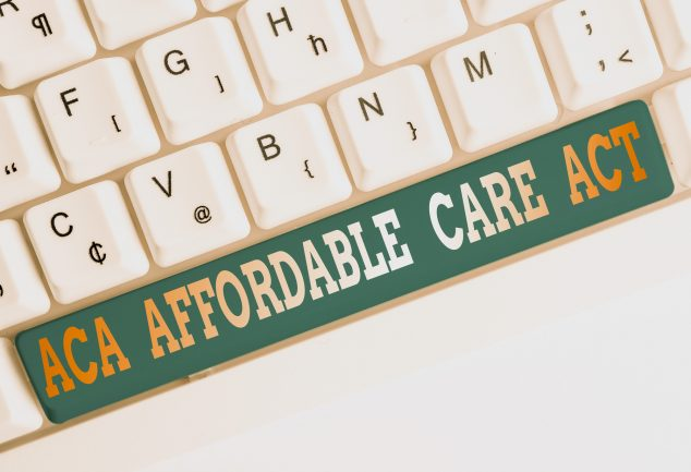 Text sign showing Aca Affordable Care Act. Business photo text providing cheap treatment to patient several places White pc keyboard with empty note paper above white background key copy space