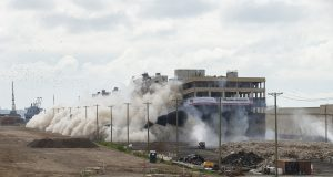 Lincoln Logistics Bayonne implodes buildings in August 2021 to make room for a UPS hub.