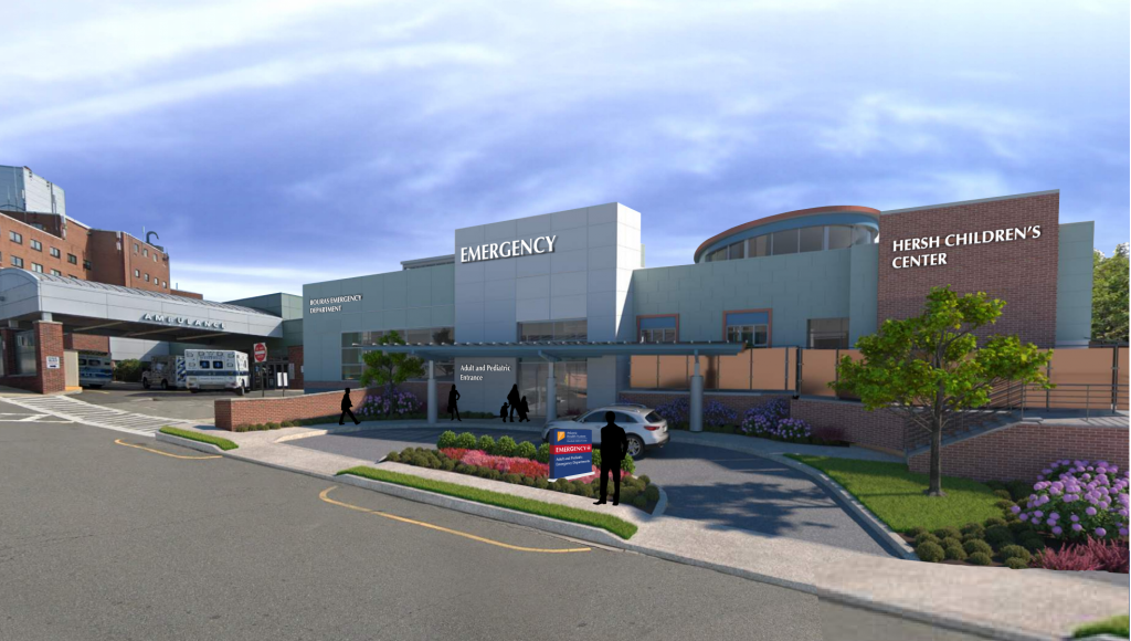 A rendering of the future Hersh Children's Center, adjacent to the new entrance to the redesigned emergency department entrance at Overlook. - ATLANTIC HEALTH
