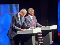 Gov. Phil Murphy and former state Assemblyman Jack Ciattarelli at the gubernatorial debate at New Jersey Performing Arts Center on Sept. 28, 2021.