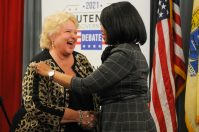 Diane Allen and Lt. Gov. Sheila Oliver particpate in the New Jersey Lieutenant Governor debate on Oct. 5, 2021, at Rider University.