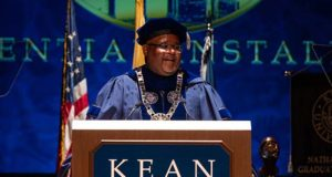 Kean University President Lamont Repollet is installed as the 18th leader of the university in a ceremony at Wilkins Theatre on the University's Union campus on Oct. 14, 2021.